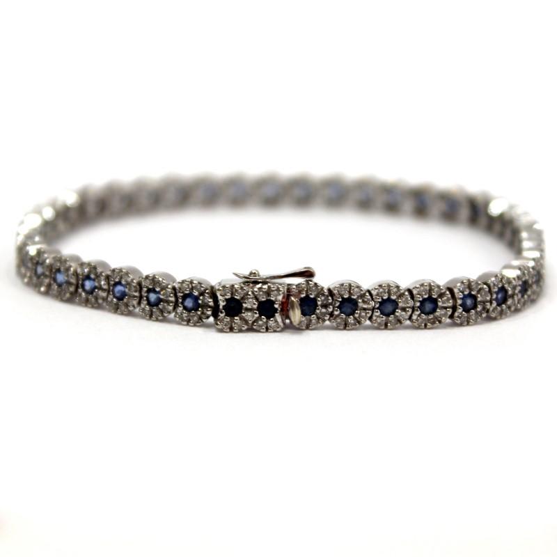 14K White Gold Round Sapphire & Round Brilliant Diamond Bracelet