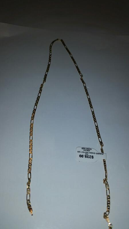 14K YELLOW GOLD FIGARO CHAIN  7.2g