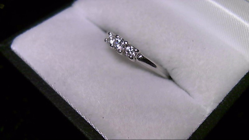 Lady's Diamond Engagement Ring 3 Diamonds .22 Carat T.W. 14K White Gold 2.68g