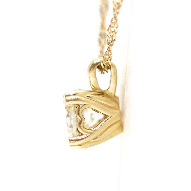 14K Yellow Solitaire Round Brilliant Diamond Pendant Necklace