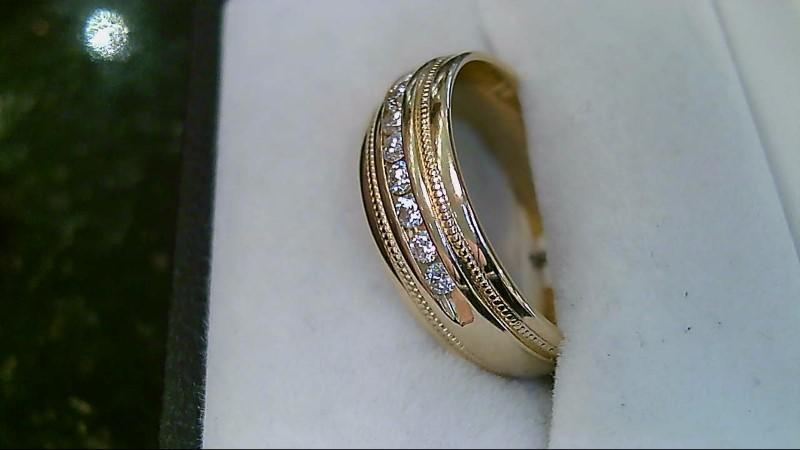 Men's Milgrain Diamond Wedding 14K Yellow Gold Band