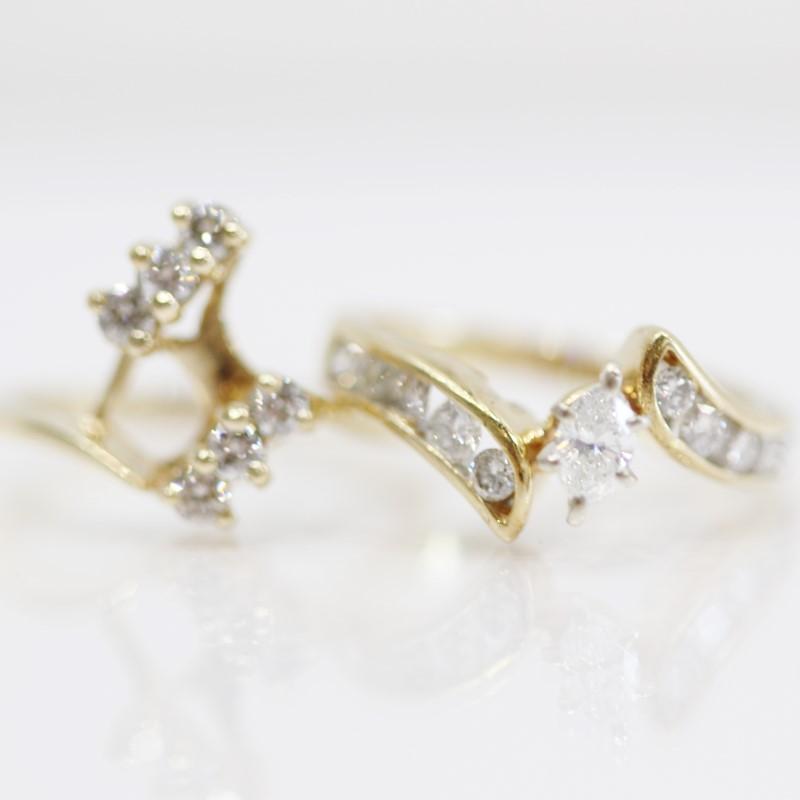 14K Yellow Gold Round Brilliant Diamond Engagement Ring Set Size 7.5