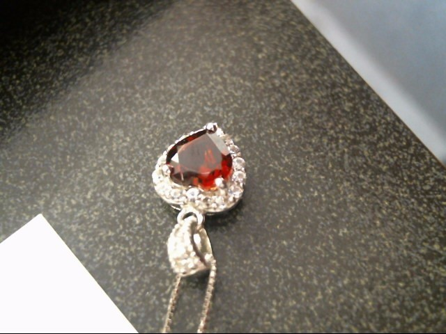 """18.5"""" RED STONE(S) Red Stone Diamond & Stone Necklace"""
