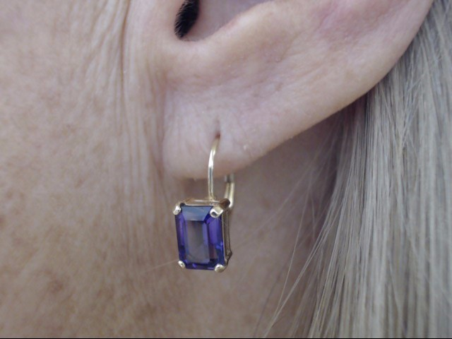 ESTATE EMERALD CUT AMETHYST EARRINGS REAL 14k GOLD 1.7g LEVER BACK