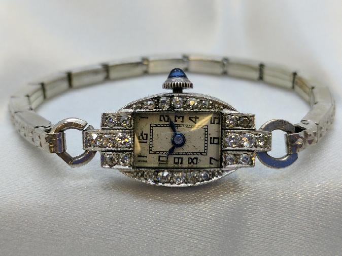 Ladies Art Deco 14k Watch w/ .24 TCW in Diamonds Stretch Band