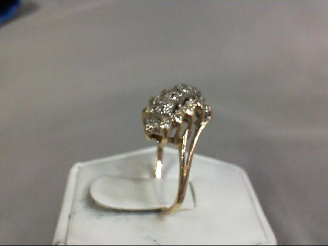 Lady's Diamond Cluster Ring 19 Diamonds .19 Carat T.W. 14K Yellow Gold 4.16g