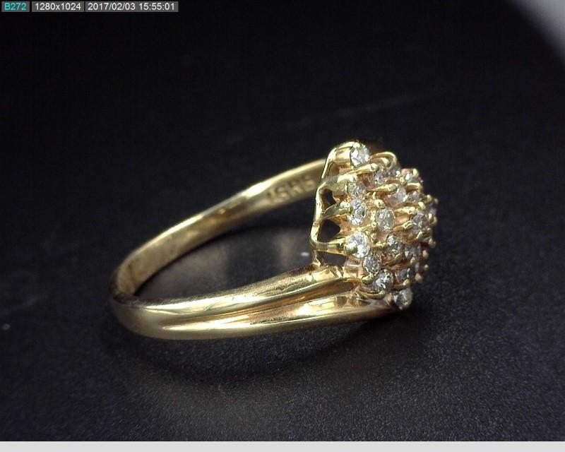 LADY'S DIAMOND CLUSTER RING APX.46C.T.W 14KYG SZ.5 2.2G