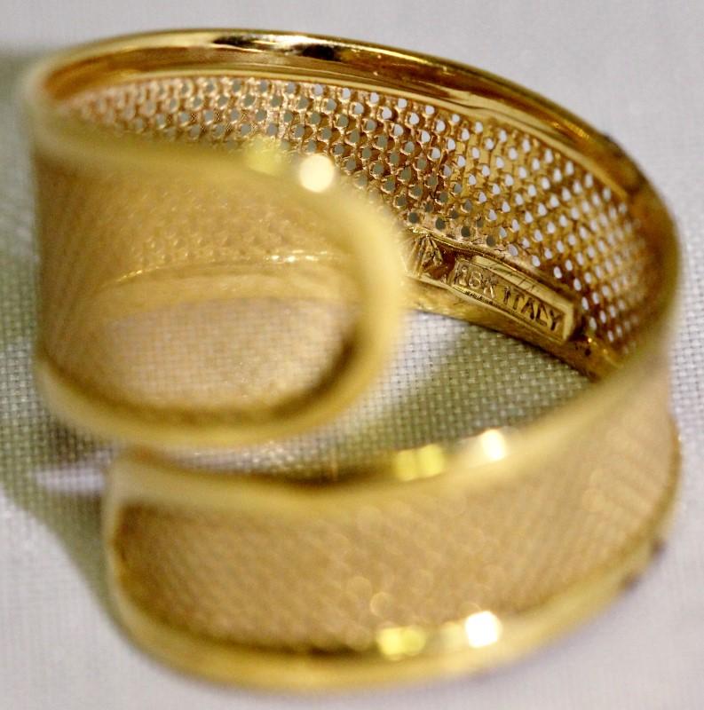 18K Yellow Gold Mesh Wrap Ring 3.16g Size 8
