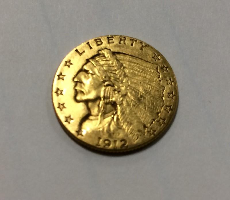 1912 2 1/2 Dollar Indian Head Quarter Eagle Gold Coin