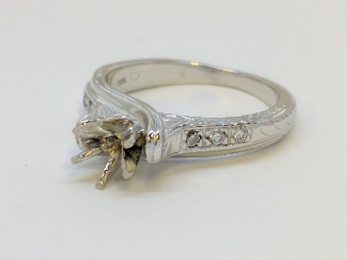 Lady's Diamond Engagement Ring Mount .06 Carat T.W. dia 18K White Gold 5.2g