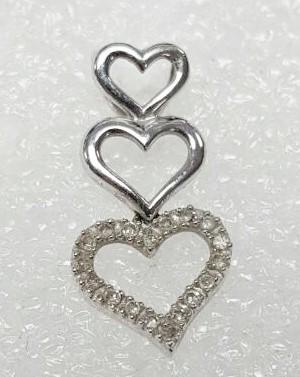 14K White Gold Diamond Encrusted Tiered Triple Heart Journey Slide Pendant