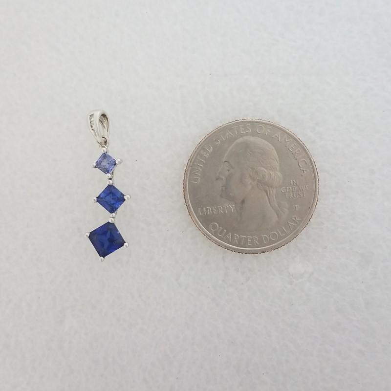 10K White Gold Princess Cut Tiered Tanzanite & Diamond Journey Pendant