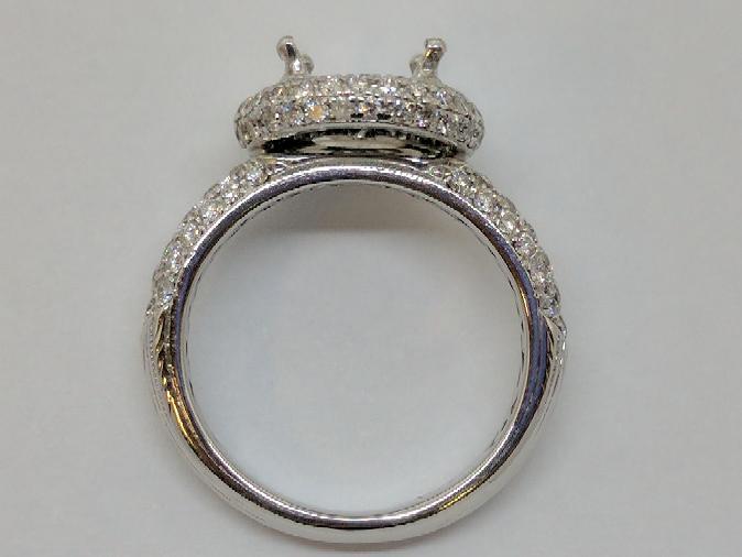 Lady's Diamond Engagement Ring Mount .24 Carat T.W. 18K White Gold 5.4g