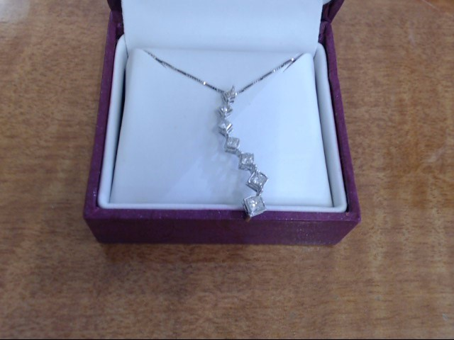 Diamond Necklace 7 Diamonds .67 Carat T.W. 14K White Gold 1.9g