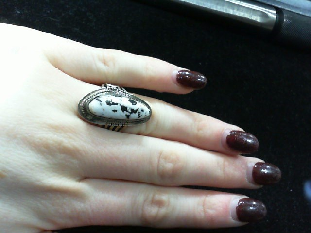 Lady's P. Sanchez Silver 925 and White Buffalo Turquoise Ring 10.3G Size 6