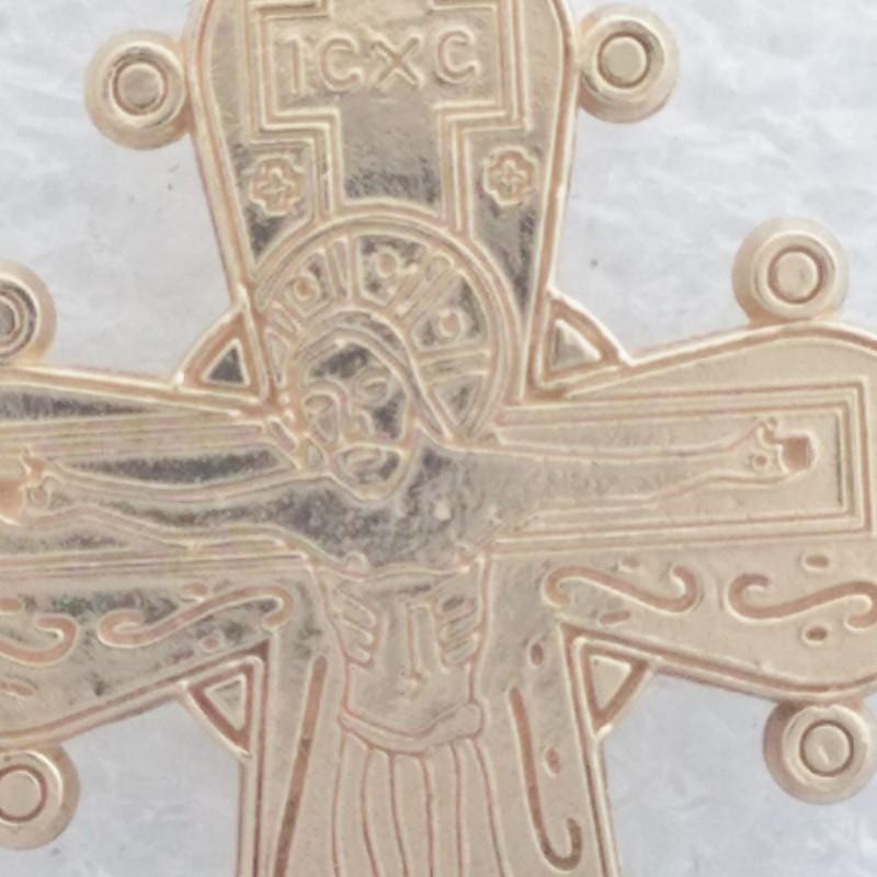Exquisite 14K Yellow Gold Byzantine Religious Icons Cross Crucifix Pendant