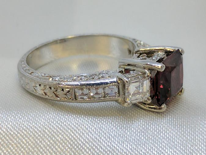 Almandite Garnet Lady's Platinum-Diamond & Stone Ring