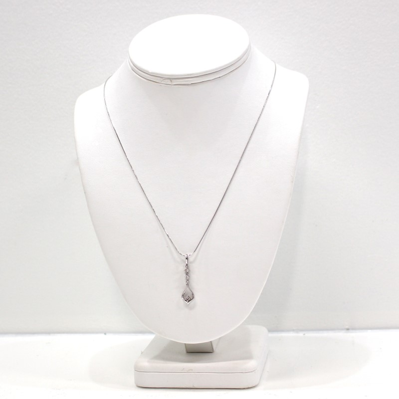 "20"" 10K White Gold Round Brilliant Diamond Tear Drop Necklace"