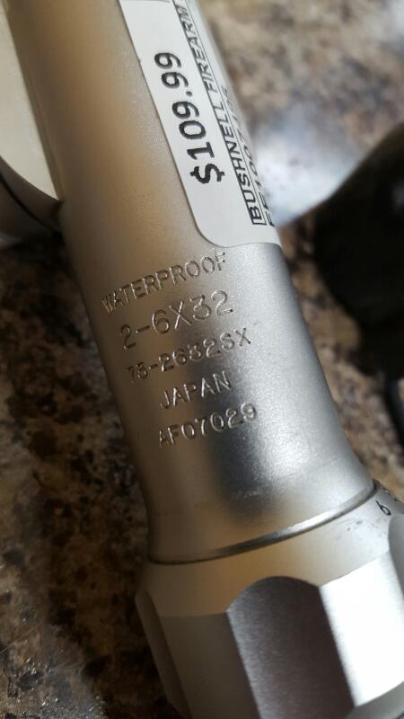Bushnell Trophy Pistol Handgun Scope 2-6X32 Silver 73-2632S (732632S)