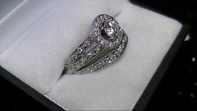 14K White Gold 0.76 CTTW Diamond Halo Wedding Set