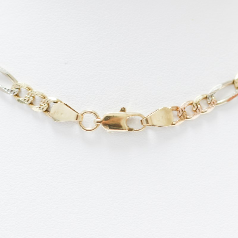 "Unisex 20"" 14K Tri-Colored Gold Figaro Link Chain"