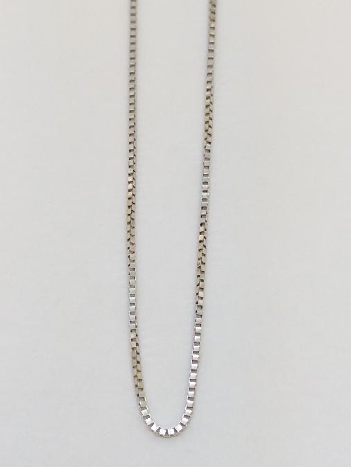 """20"""" Gold Box Chain 14K White Gold 1.6g"""