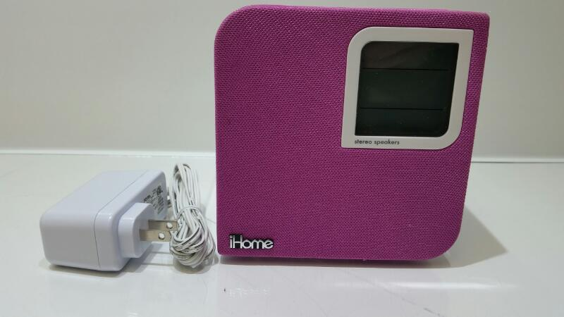 IHOME IH120P Pink Space Saver Alarm Clock Ipod Speaker System