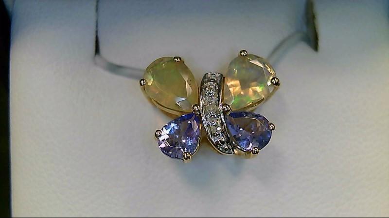 Butterfly Tanzanite Opal 10K Yellow Gold Pendant