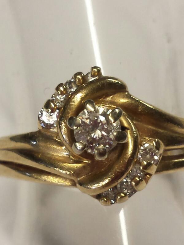 LADY'S WEDDING SET, HALF SWIRL WITH DIAMONDS, 14K Y/G, SIZE: 5.5