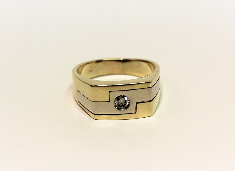 Gent's Gold-Diamond Wedding Band .40 CT. 14K 2 Tone Gold 11g Size:12.5