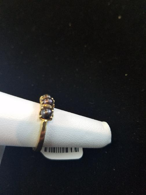 Synthetic Pearl Lady's Stone Ring 14K Yellow Gold 3.6g Size:7.5