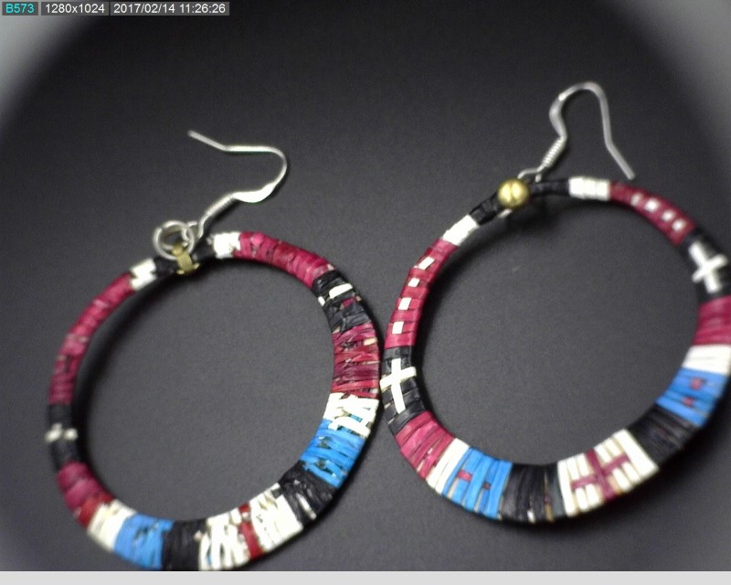 EARRING SET - QUILL WRAPPED HOOPS, ONE PAIR EARRING, NATIVE AMERICAN