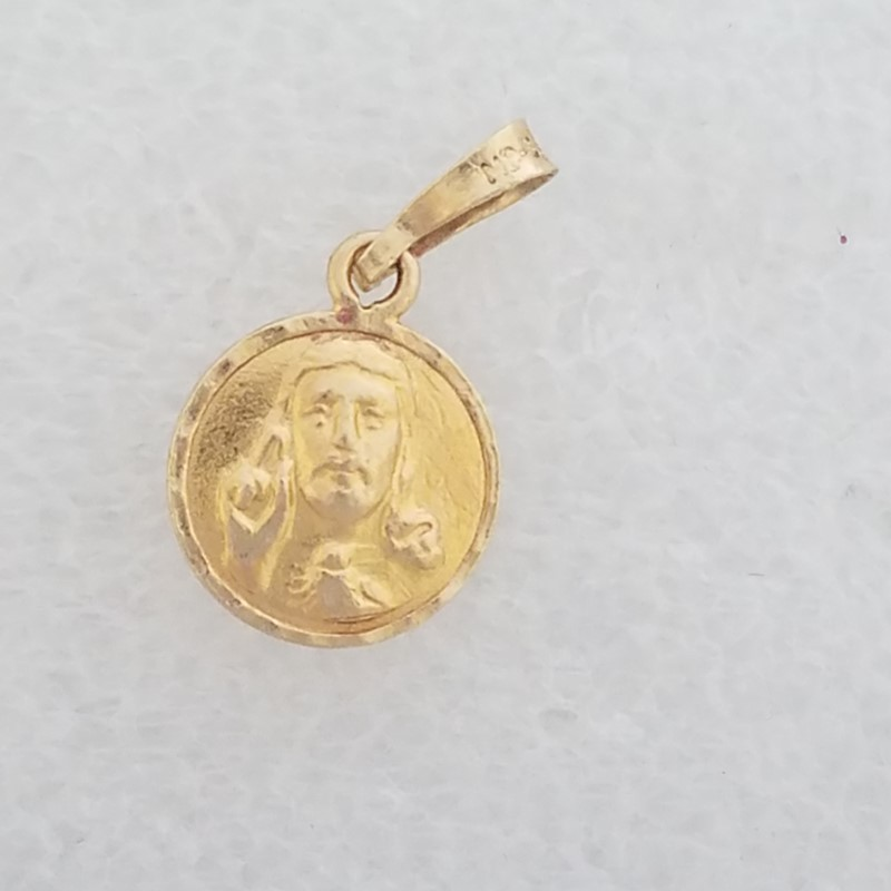 14K Yellow Gold Reversible Jesus Christ/Our Lady of Guadalupe Medallion Pendant