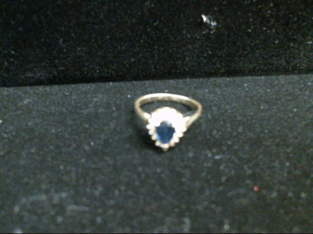 Synthetic Sapphire Lady's Stone & Diamond Ring 15 Diamonds .15 Carat T.W.