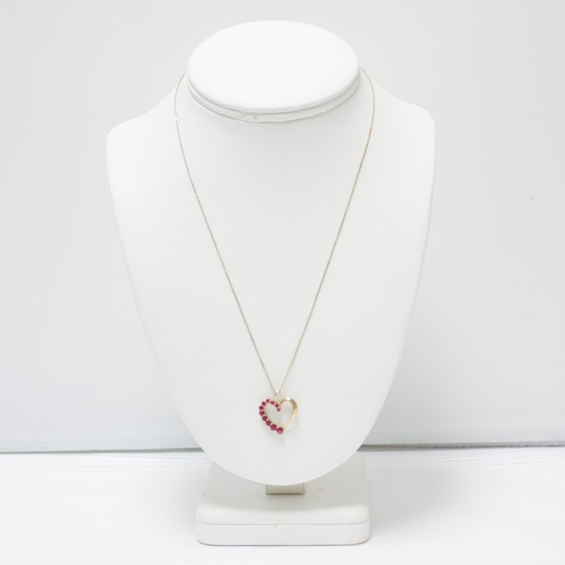 14K Yellow Gold Round Cut Ruby Accented Heart Pendant & Box Chain