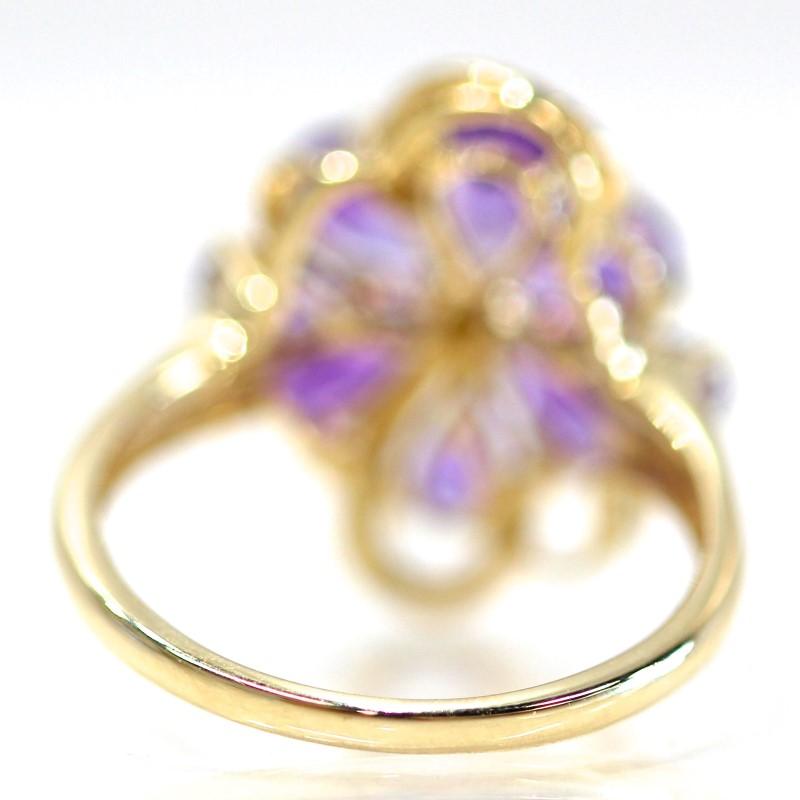 14K Y/G Pear Cut Amethyst & Round Diamond Flower Cluster Ring Size 8