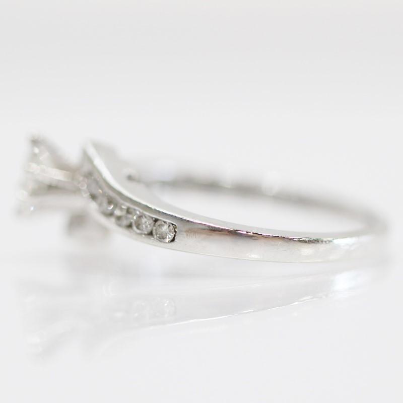 14K W/G Marquise & Channel Set Round Brilliant Diamond Ring Size 7