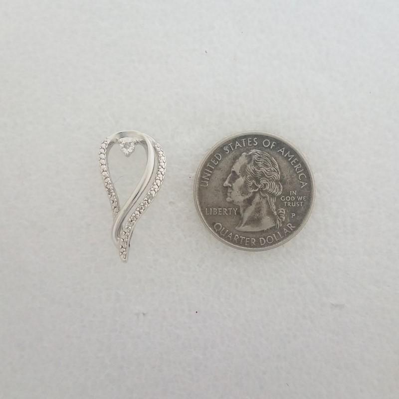 Sterling Silver & Diamond Elegant Open Work Polished Tear Raindrop Slide Pendant