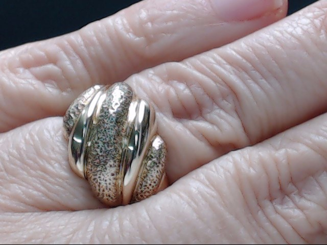ESTATE 13mm TEXTURED RIBBED DOME RING REAL 14k GOLD 7.3g SIZE 7