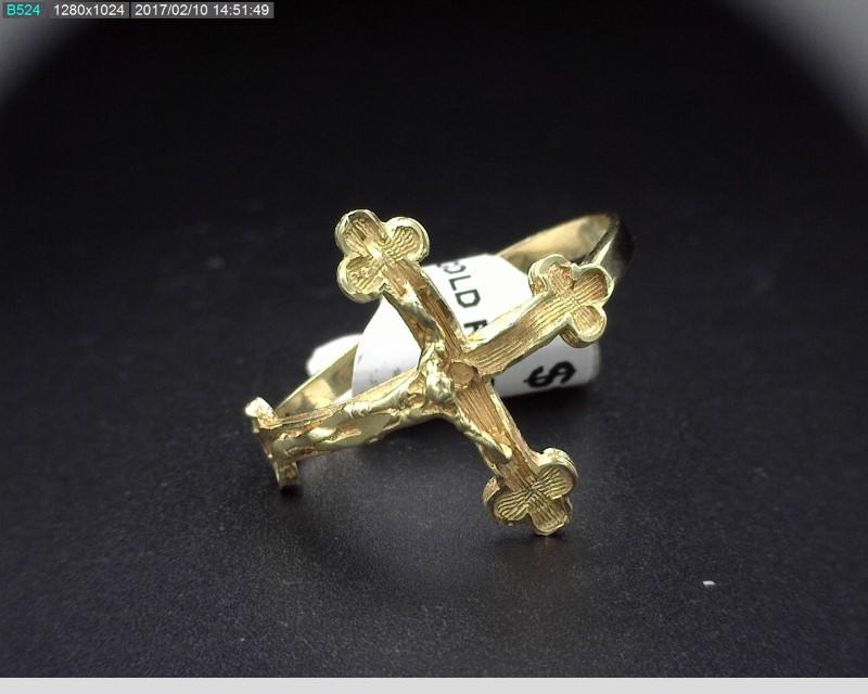 MEN'S GOLD CROSS RING 14KYG 2G SZ.9