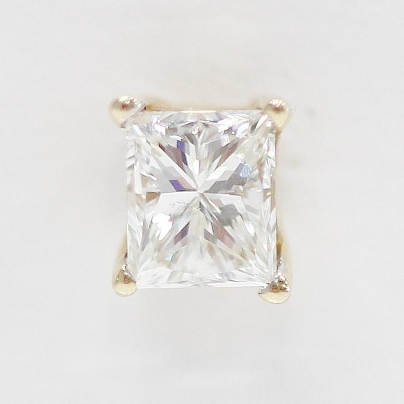 14K Yellow Gold Princess Cut Diamond Screw Back Studs