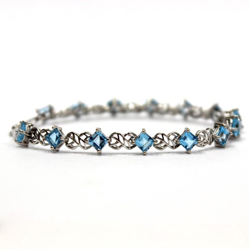 Intricate Vintage Inspired 14K W/G Princess Cut Aquamarine Bracelet