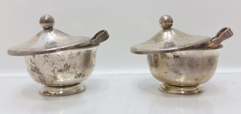 Antique Sterling Web Silver Pair of Saccharine Box Bowl w/ Tongs