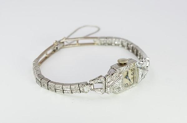 ANTIQUE HAMILTON PLATINUM WATCH W/ DIAMONDS