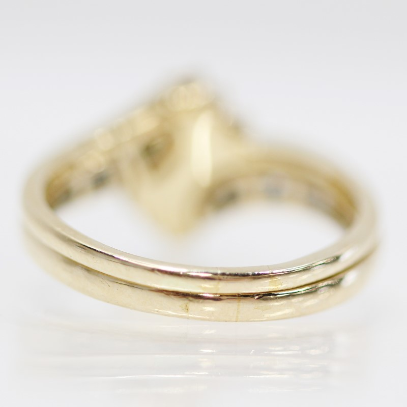 14K Y/G Marquise & Round Brilliant Diamond Wedding Set Size 8.25