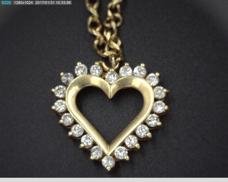 14KYG LADY'S DIAMOND HEART NECKLACE APX.1.00C.T.W ON ADJUSTABLE HEAVY CHAIN