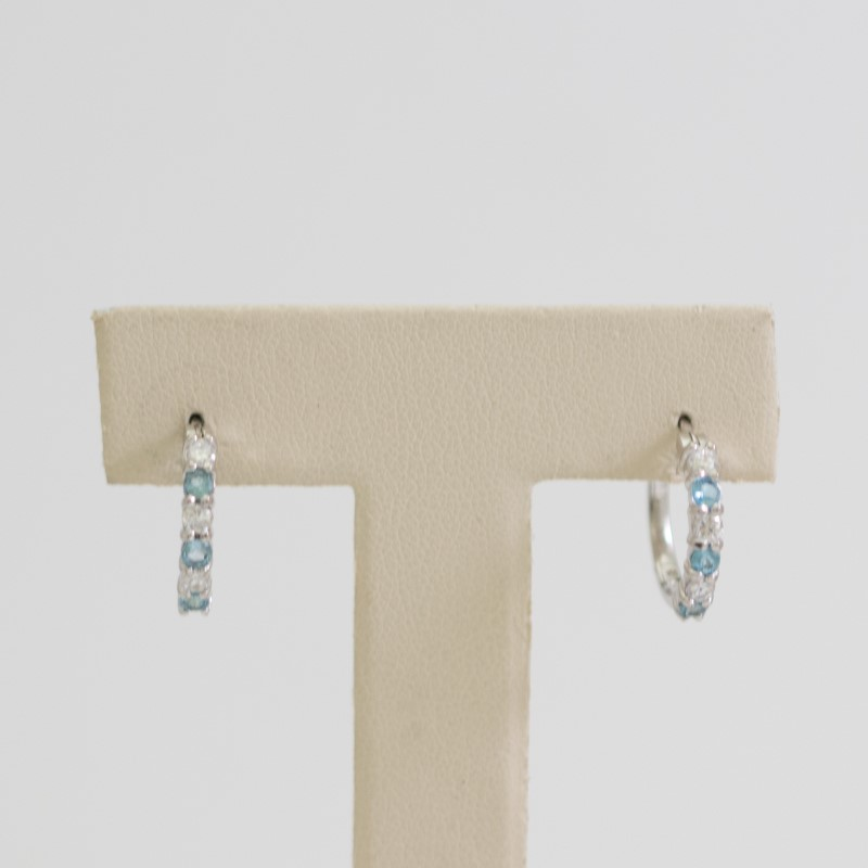 Sterling Silver Round Cut Tourmaline & CZ Hoop Rings