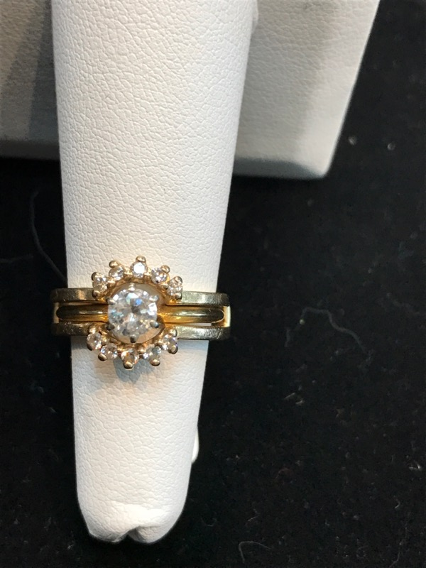 Lady's 14K Yellow Gold Diamond Wedding Set 5.4g Size:6 (Free S/H)