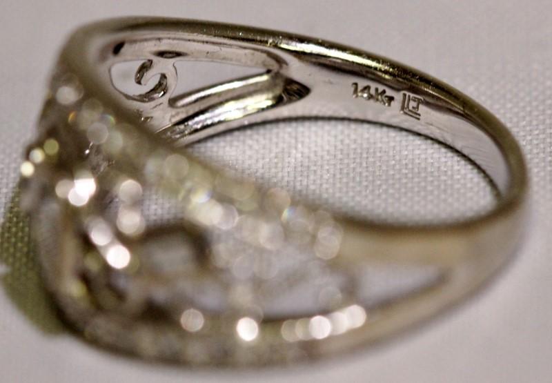 14K White Gold Open Work Geometric Filigree Fancy Diamond Dome Ring sz 7