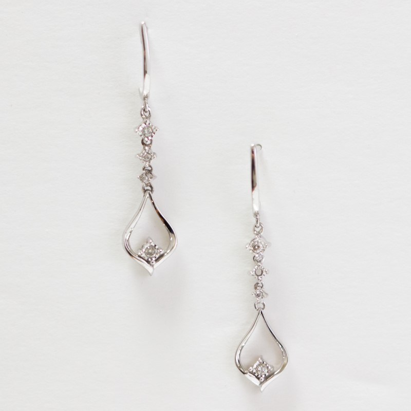 10K White Gold Round Brilliant Cut Diamond Tear Drop Earrings